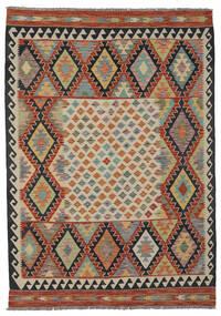 Kelim Afghan Old Style Matto 148X204 Itämainen Käsinkudottu Tummanruskea/Musta (Villa, Afganistan)
