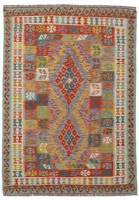 Kelim Afghan Old Style Matto 143X203 Itämainen Käsinkudottu Tummanvihreä/Tummanruskea (Villa, Afganistan)