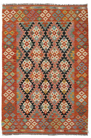 Kelim Afghan Old Style Matto 125X184 Itämainen Käsinkudottu Tummanpunainen/Tummanruskea (Villa, Afganistan)
