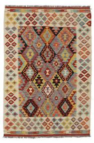 Kelim Afghan Old Style Matto 125X181 Itämainen Käsinkudottu Tummanruskea/Valkoinen/Creme (Villa, Afganistan)