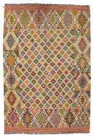 Kelim Afghan Old Style Matto 133X194 Itämainen Käsinkudottu Tummanruskea/Ruskea (Villa, Afganistan)