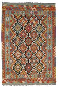 Kelim Afghan Old Style Matto 126X185 Itämainen Käsinkudottu Tummanpunainen/Tummanruskea (Villa, Afganistan)