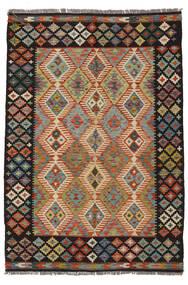 Kelim Afghan Old Style Matto 132X188 Itämainen Käsinkudottu Musta/Tummanruskea (Villa, Afganistan)