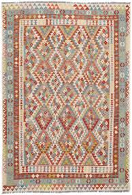 Kelim Afghan Old Style Matto 200X297 Itämainen Käsinkudottu Tummanruskea/Tummanpunainen (Villa, Afganistan)