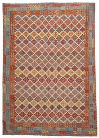 Kelim Afghan Old Style Matto 275X380 Itämainen Käsinkudottu Tummanruskea/Tummanvihreä Isot (Villa, Afganistan)