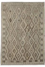 Kelim Afghan Old Style Matto 202X287 Itämainen Käsinkudottu Tummanruskea/Oliivinvihreä (Villa, Afganistan)