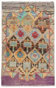 Moroccan Berber - Afghanistan Matto 85X129 Moderni Käsinsolmittu Tummanruskea/Musta (Villa, Afganistan)