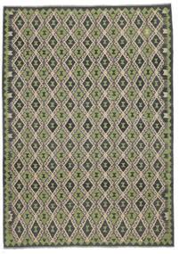 Kelim Afghan Old Style Matto 207X296 Itämainen Käsinkudottu Musta/Tummanvihreä (Villa, Afganistan)