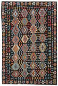 Kelim Afghan Old Style Matto 196X302 Itämainen Käsinkudottu Musta/Tummanruskea (Villa, Afganistan)